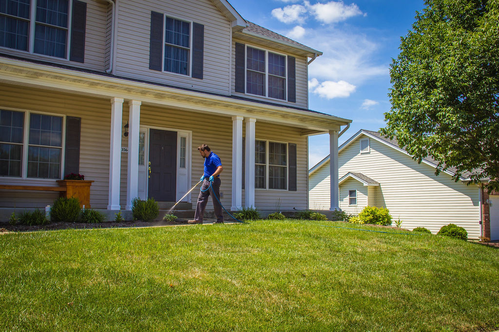 Treating the perimeter of a home from pests